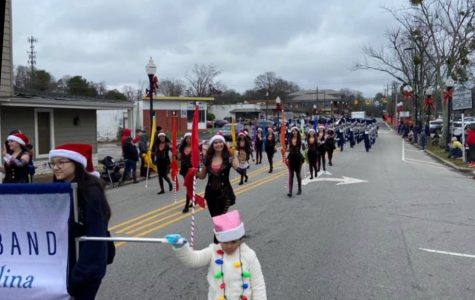 The Green Level Marching Band at the Cary Christmas Parade