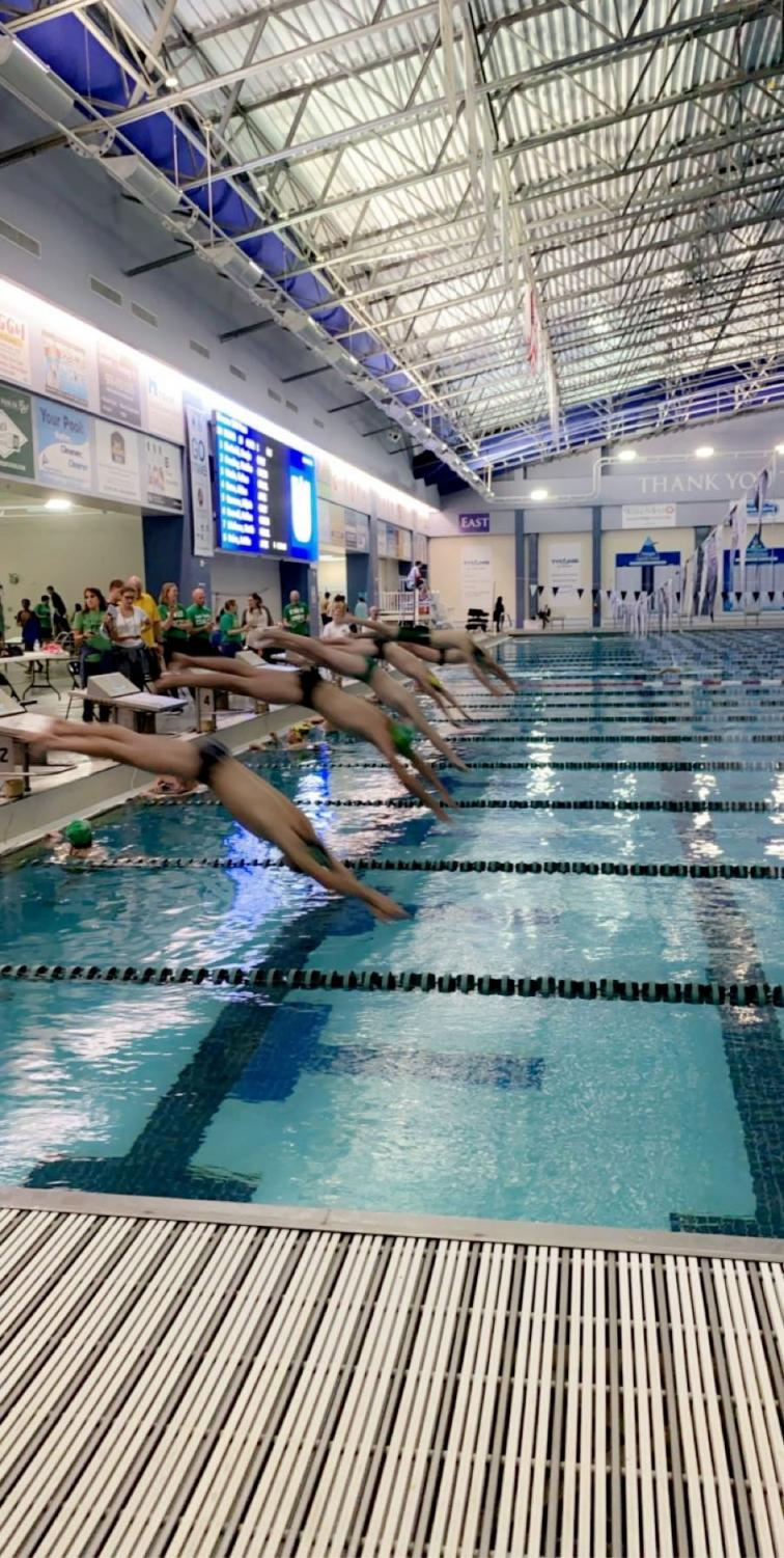 Swimmers are ready to dive in.