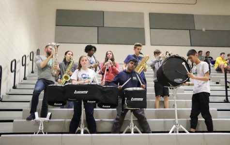 The pep band takes a break.