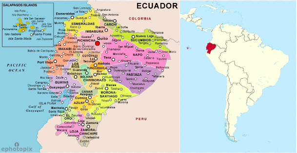 Ecuador is a Latin American country nestled on the Pacific Coast of South America.