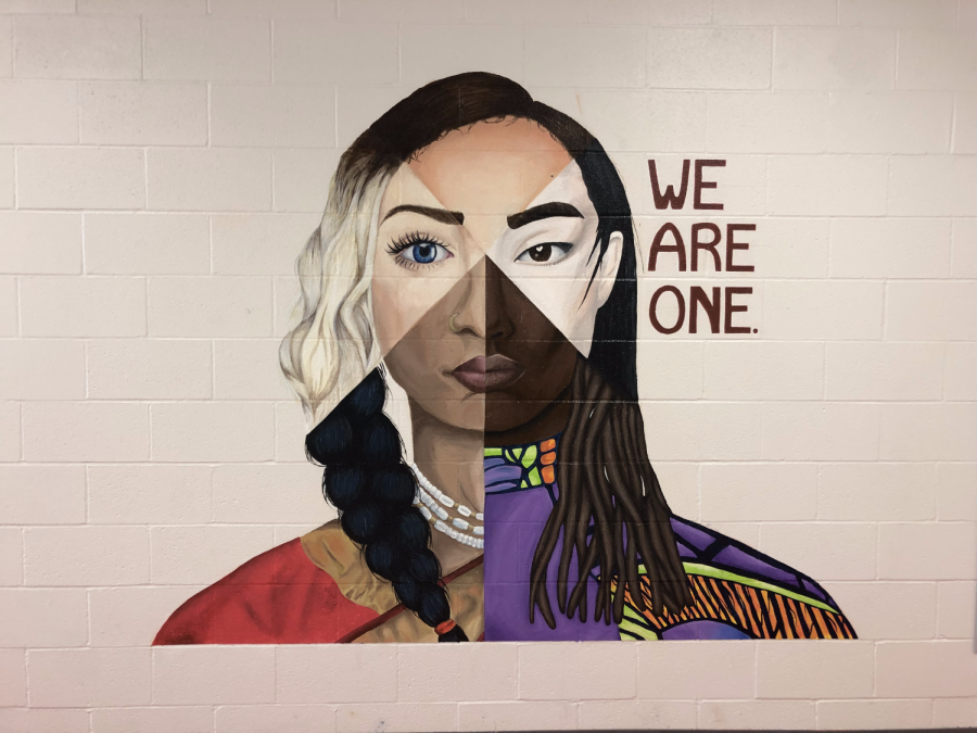 We Are One mural painted and created by Green Level students.